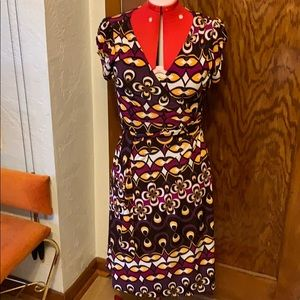 Bison Bisou geometric purple yellow wrap dress
